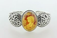"""Indonesia Sterling Silver 925 Filigree Carved Lady Amber Resin Cuff Bracelet 7"""""""