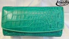 Skin Leather Genuine Crocodile Wallets Belly Trifold Women's Wallet Green Clutch