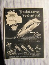 """Vintage Barbershop Andis Junior Deluxe """"First Class Clipper"""" Sign Ad"""