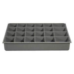 DURHAM MFG 124-95-24-IND Drawer Insert,24 Compartments,Gray