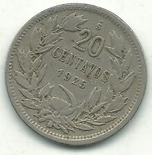 A VERY NICE 1925 S CHILE 20 CENTAVOS COIN-DEFIANT CONDOR ON ROCK-JAN234