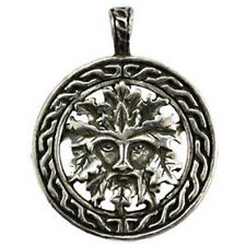 """NEW Celtic Green Man Amulet 1.25"""" Pewter Pendant w/ Cord Pagan - US Made!"""