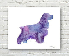 Purple COCKER SPANIEL Contemporary Watercolor ART Print by Artist DJR