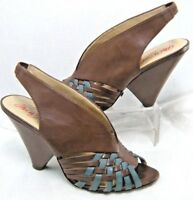 Miss Sixty Womens Sandals Size 7 Euro 38 Caila Brown & Blue Slingback Wedge  #JS