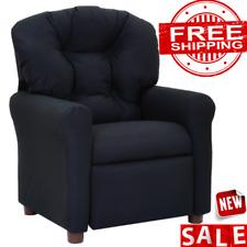 RECLINER CHAIR KIDS SOFA Lounger Couch Children Seat Microfiber Push-Back Black