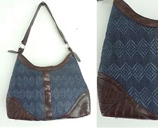 COLDWATER CREEK Purse Brown Blue Faux Leather Woven Synthetic Straw Handbag