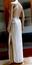 New Beautiful halter top blush White beaded embellishment evening gown Sz 4