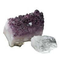 Natural Amethyst Quartz Crystal Cluster with 1 Clear Quartz Rough Stone Set of 2