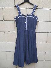 ROBE à bretelles VINTAGE été bleu pois blanc oldschool années 70 dress DIOLEN 42