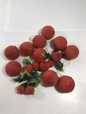 Lot of Vintage Red Ball Christmas Ornaments Decorations Bowl Fillers Holly Felt
