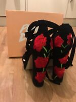 Public Desire Black Platform Rose Heels BRAND NEW IN BOX uk Size 3