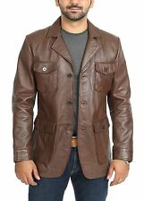 Mens Safari Real Leather Coat Trench Fitted Retro 70's Style Blazer Jacket Brown