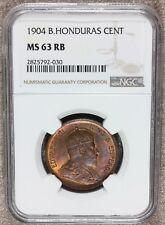 1904 British Honduras 1 One Cent Coin - NGC MS 63 RB - KM# 11