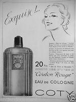 PUBLICITÉ DE PRESSE 1934 COTY CORDON ROUGE EAU DE COLOGNE JOIE DE VIVRE