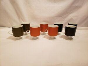 """Set of 8 MCM Pedestal Cups/ Mugs, """"FF"""" Marked Bottoms, Olive, Black, Orange, 4"""""""