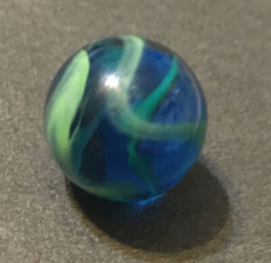 Amazing Akro Agate Sea Turtle Color Spiral Blue Marble Vintage