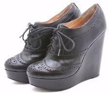 ALDO Wingtip Oxfords womens size 40 9 9.5 Black Leather platform heels punk goth