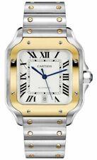 Cartier Santos Auto Silvered OPALINE Dial 18k Yellow Gold Men's Watch W2SA0006