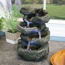 Sunnydaze Indoor Stacked Rocks Design Illuminated Tabletop Fountain - 10.5""