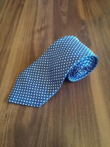 George Blue White Polka Dot Spotty Polyester Necktie, 59 inch Classic Wide Men's