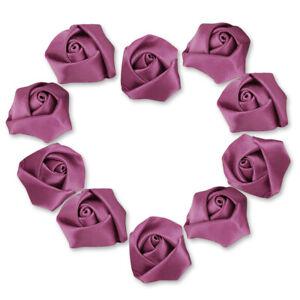 10pcs Satin Ribbon Flower Rosebuds Wedding Appliques Decoratoin DIY Lots OBRN33