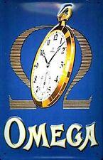 Omega advert embossed metal sign  (hi 3020)
