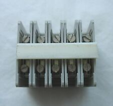 Strip of (5) Phonix Type Terminal Contact Blocks ET2 600V 25A #12 AWG Wire
