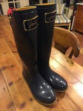 JOULES Women's Evedon French Navy Rain Boots Wellies- Size 7 US / 38 Euro