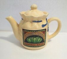 Beautiful Tan And Blue Tea Pot Used Very Nice No Chips Or Cracks Ceramic