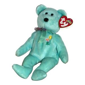 """Ty Beanie Babies Ariel 9"""" Bear In Memory Embroidered Flower Sun 2000 W/ Tag"""