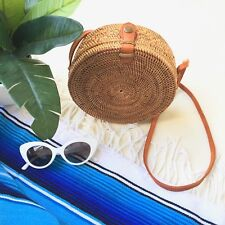 Bali Ata Round Rattan Bag / Woven Straw Purse / Coachella Festival Clothing Bag