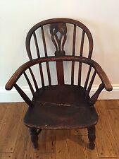 Antique Welsh Child's Windsor Chair 19th.c 1800s Furniture Farmhouse Vintage Ash