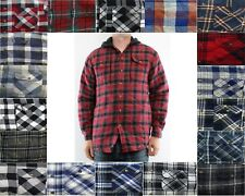 Wrangler Flannel Shirt Jacket Men's Hooded Plaid Patterned Quilted Button Front