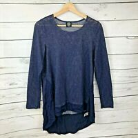 Bobeau Knit Top Size Medium Womens Hi Low Hem Long Sleeve Navy Blue Tee