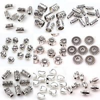 50/100pcs Quality Silver Plated Loose Spacer Beads Charms Jewelry Making DIY Lot