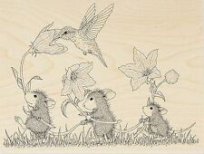 HOUSE MOUSE Tag Hummingbird Wood Mounted Rubber Stamp STAMPENDOUS HMR84 New