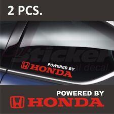 2 pcs. Powered by HONDA CIVIC Window Decal sticker emblem White + Red logo