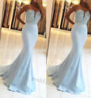 2018 Blue Mermaid Prom Dress Formal Evening Bridesmaid Bead Party Pageant Dress