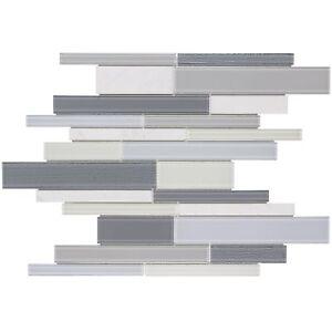 Modern Linear Grey White Glass Stone Mosaic Tile Backsplash Kitchen Wall MTO0318