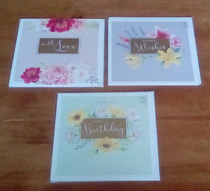 3 x birthday cards flower theme 16cm x 16cm new in packs