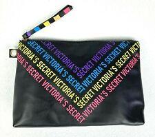 Victoria's Secret Black Multicolor Logo Makeup Toiletry Travel Bag Zip Pouch