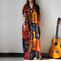 Women Casual Long Sleeve Loose Baggy Kaftan Oversized Maxi Dress Plus Size Hot