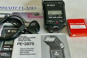 Auto LED FLASHGUN- NATIONAL PE-387S, Tilt/swivel/Zoom/Wide/Remote. GN38.  EXC!