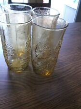 Anchor Hocking Amber Daisy Drinking Glasses set of 4