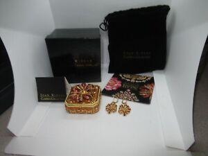 Joan Rivers Keepsake Box Brooch Earrings Enamel Set Sweetheart (561G)