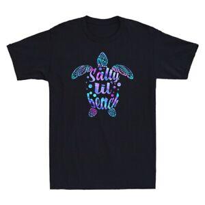 Turtle Salty Lil Beach Funny Turtle Lover Vintage Men's T-Shirt Cotton Black Tee