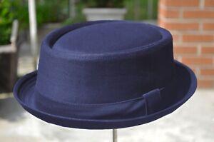 Men's Classic Porkpie 100% Cotton Solid Fedora Stingy brim Round Top Hat 4 Color