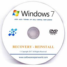 Windows 7 Boot / Recovery Disc - 64 / 32 bit (Repair / Restore / Instal) CD/DVD