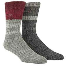 Calvin Klein Men's CK 2-Pack Jeans Crew Socks Gift Box, Grey / Red, One Size
