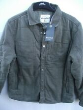 Weird Fish. Olive Chunky Quilted Twill Shirt Jacket Coat Top.  Medium RRP £90